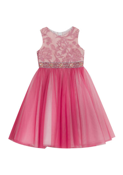 Rare Editions Girls 7-16 Pink Lace Mesh Midi