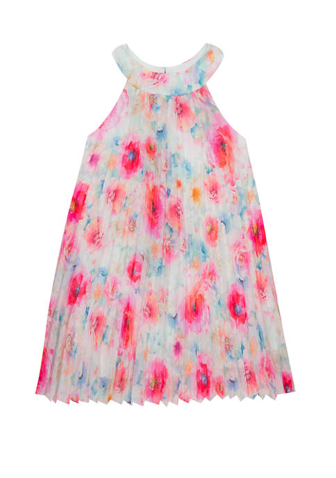 Girls 7-16 Floral Pleated Short Dress