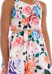Girls 7-16 Dusty Pink Floral High Low Jewel Belted Dress