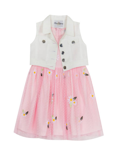 Rare Editions Girls 7-16 Denim Vest Dress Set