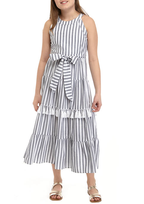 Rare Editions Girls 7-16 Blue White Striped Tiered