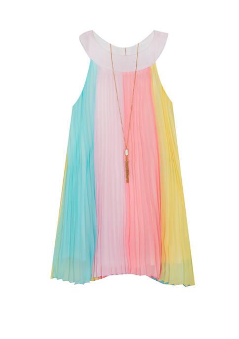 Girls 7-16 Rainbow Pleated Short Dress