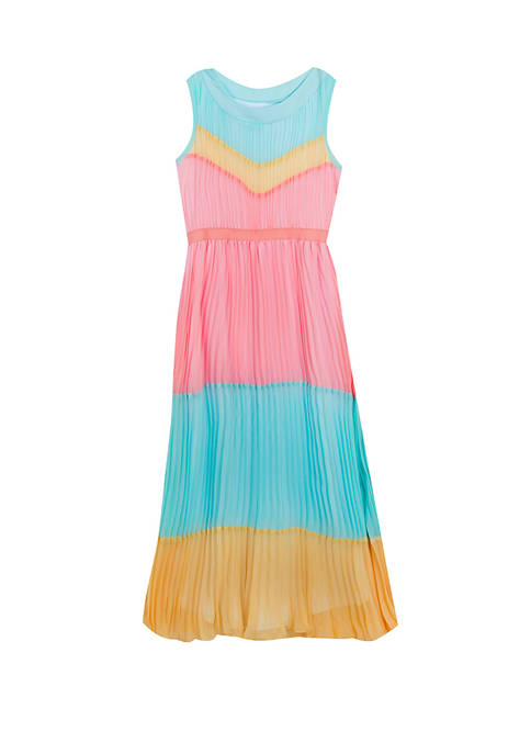 Rare Editions Girls 7-16 Color Block Pleated Maxi