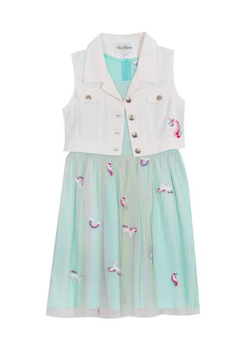 Girls 7-16 Embroidered Mesh Dress with Denim Vest