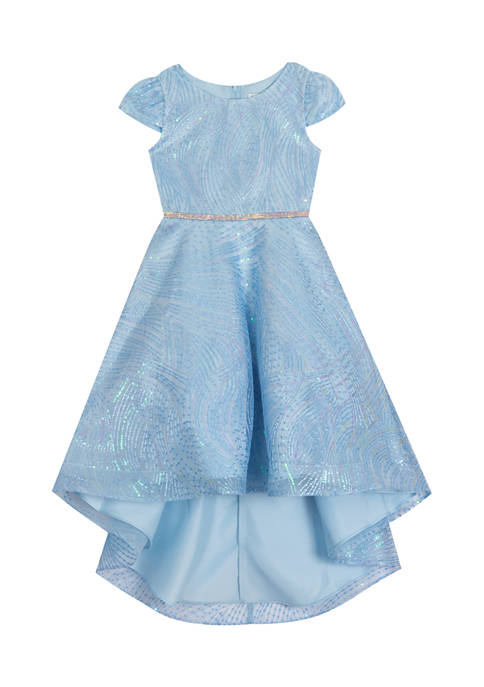 Girls 7-16 Sequin Embroidered Mesh High Low Dress