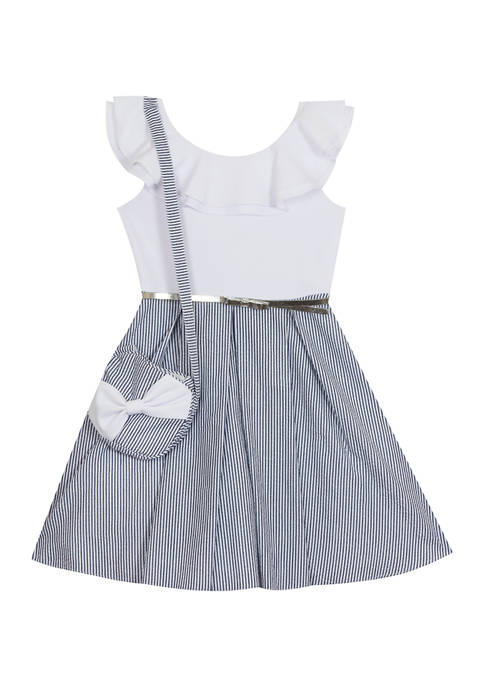 Counting Daisies Girls 7-16 Scuba Crepe Seersucker Dress