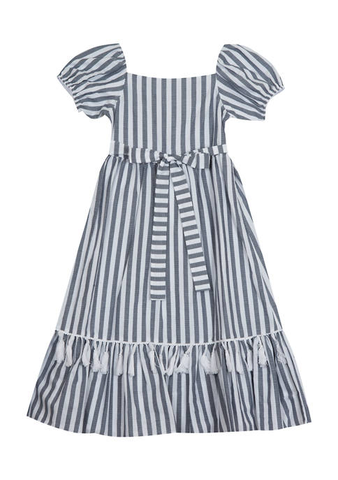 Counting Daisies Girls 7-16 Woven Stripe Tiered Skirt