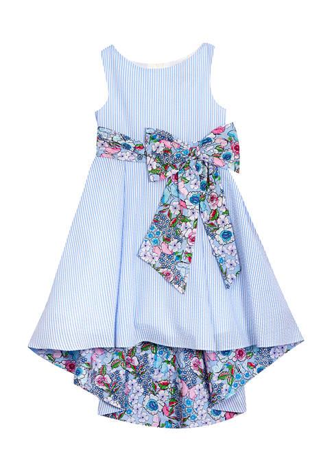 Girls 7-16 Seersucker High Low Dress with Printed Waistband