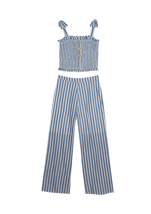 Girls 7-16 Smocked Yarn Dyed Top and Pants Set