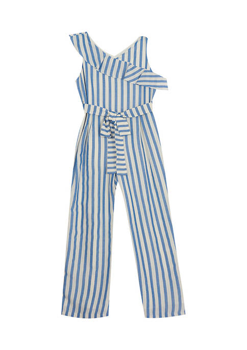 Counting Daisies Girls 7-16 Stripe Woven Ruffle Jumpsuit