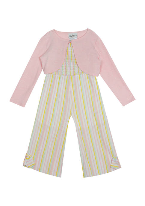 Counting Daisies Girls 7-16 Seersucker Jumpsuit with Cardigan