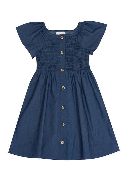 Girls 7-16 Smocked Chambray Dress