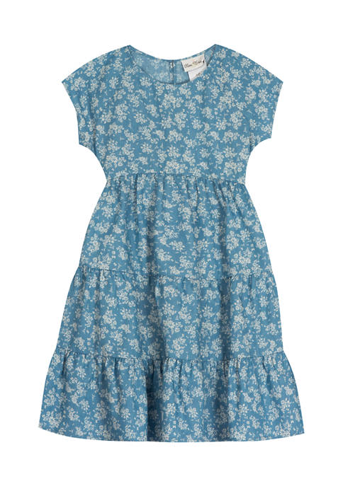 Girls 7-16 Printed Chambray Floral Dress