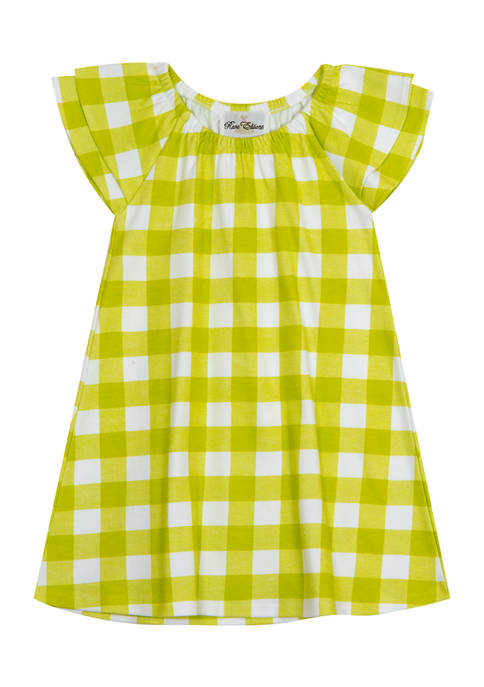 Counting Daisies Girls 7-16 Flutter Sleeve Check Print