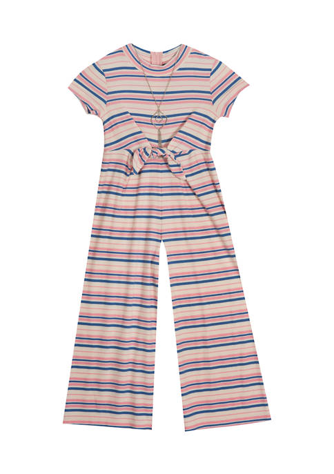 Rare Editions Girls 7-16 Jumpsuit with Tie Waist