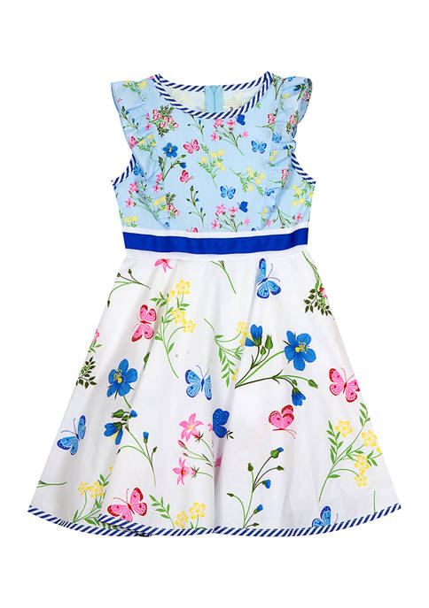 Counting Daisies Girls 7-16 Butterfly Floral Print Poplin