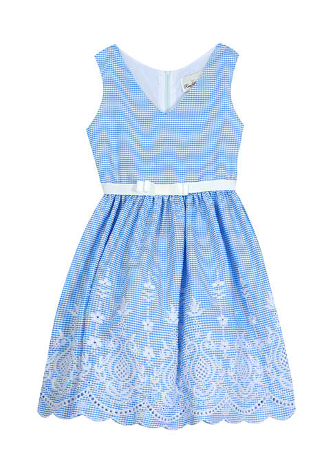 Counting Daisies Girls 7-16 Gingham Embroidered Dress