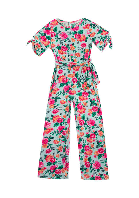 Girls 7-16 Printed Rib Knit Jumpsuit with Tie Belt and Necklace