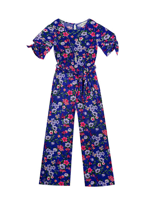 Rare Editions Girls 7-16 Printed Rib Knit Jumpsuit