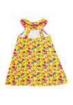 Girls 7-16 Multi-Color Floral Interlock Knit Dress