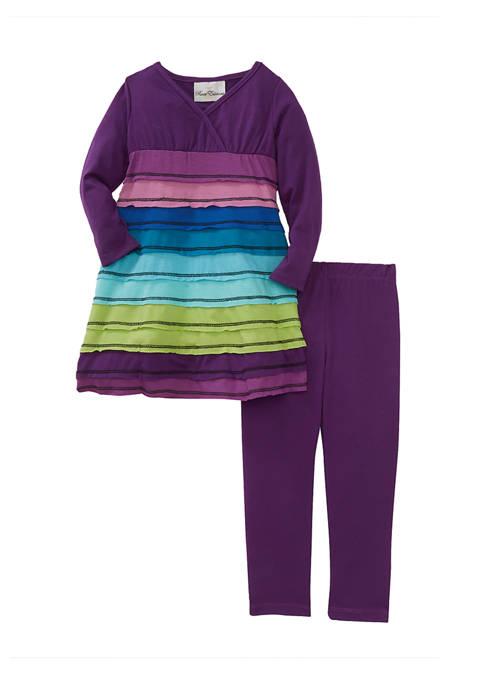 Rare Editions Girls 4-6x Tier Knit Legging Set