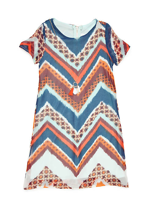 Rare Editions Girls 4-6x Short Sleeve Chevron Necklace
