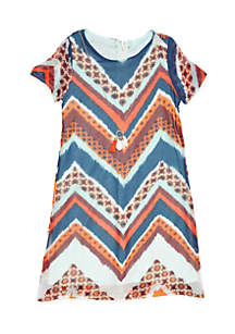 Girls 4-6x Short Sleeve Chevron Necklace Dress