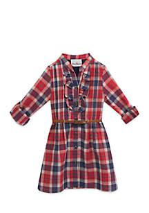 Girls 4-6x Ruffle Plaid Shirt Dress