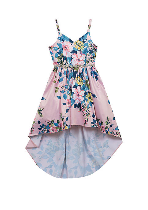 Rare Editions Girls 4-6x Blush/Multi Floral Hi-Lo Dress