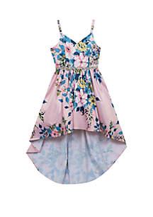 Girls 4-6x Blush/Multi Floral Hi-Lo Dress