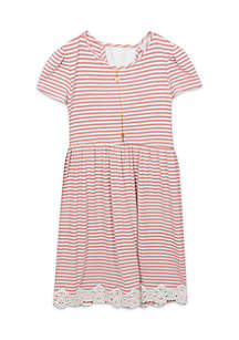 Girls 4-6x Stripe Knit Dress With Necklace