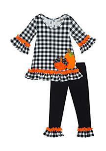 Girls 4-6x Harvest Black and White Checkered Pumpkin Set