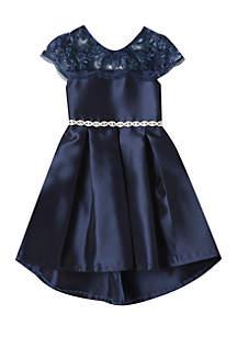 Girls 4-6x Navy High Low Lace Jewel Belt Social Dress