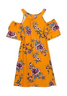 Girls 4-6x Cold Shoulder Floral Dress