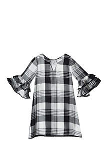 Girls 4-6x Black and White Bell Sleeve A-Line Dress