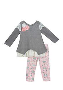 Girls 4-6x Gray Sweater Floral Legging Set