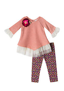 Girls 4-6x Pink Sweater Knit with Lace Legging Set