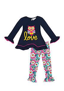 Girls 4-6x Owl Applique Love Set