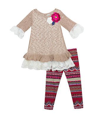 bc5bd02c4c8 Rare Editions. Rare Editions Girls 4-6x Taupe Sweater Aztec Legging Set