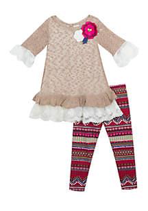 Girls 4-6x Taupe Sweater Aztec Legging Set