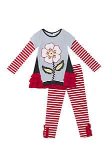 Girls 4-6x Applique Berry Stripe Flower Set