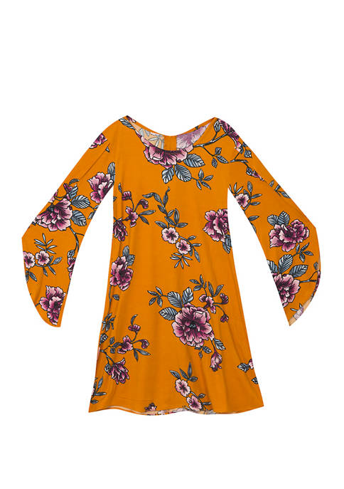 Rare Editions Girls 4-6x Yummy Floral Bell Sleeve