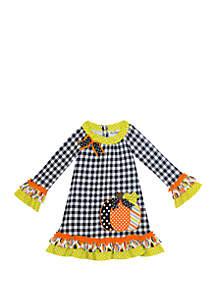 Rare Editions Girls 4-6x Gingham Check Pumpkin Dress