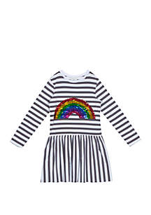 Rare Editions Girls 4-6x Sequin Rainbow Stripe Dress
