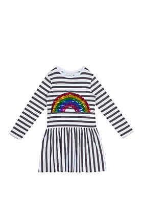 e7e1e60eea95 Rare Editions Girls 4-6x Sequin Rainbow Stripe Dress ...