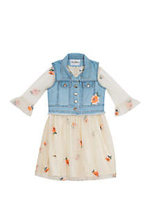 Rare Editions Girls 4-6 Denim Vest and Floral Dress Set