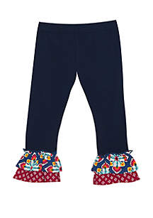 Jumping Fences by Rare Editions Girls 4-6x Solid Pants with Pattern Ruffle