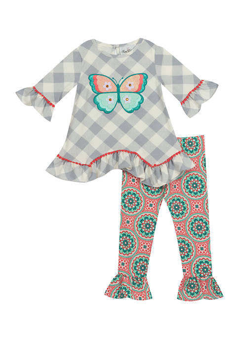 Counting Daisies Girls 4-6x 2 Piece Plaid Butterfly