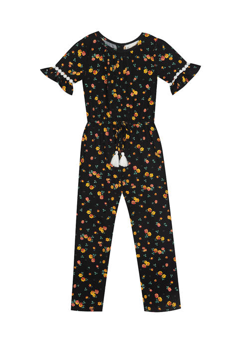 Rare Editions Girls 4-6x Short Sleeve Printed Jumpsuit