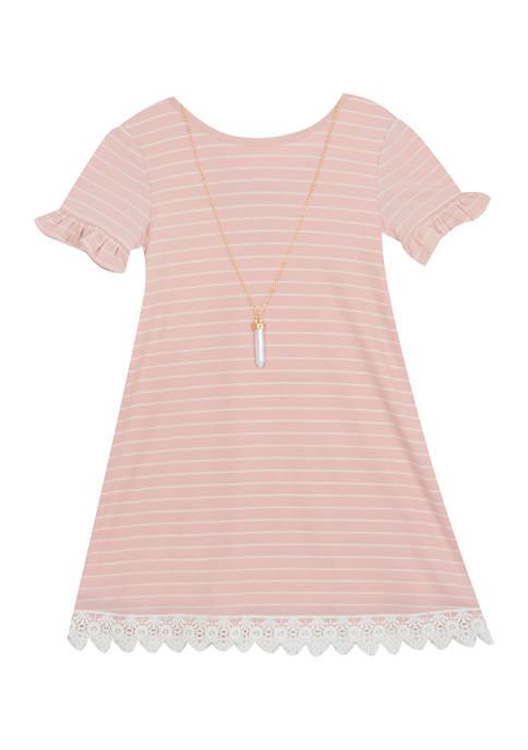 Rare Editions Girls 4-6x Stripe Rib Dress